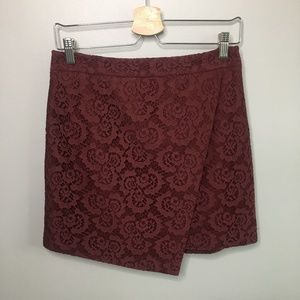 Madewell Lace Asymmetrical Maroon Mini Skirt